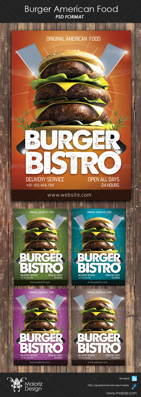 Burger American Food Flyer - Restaurant Flyers