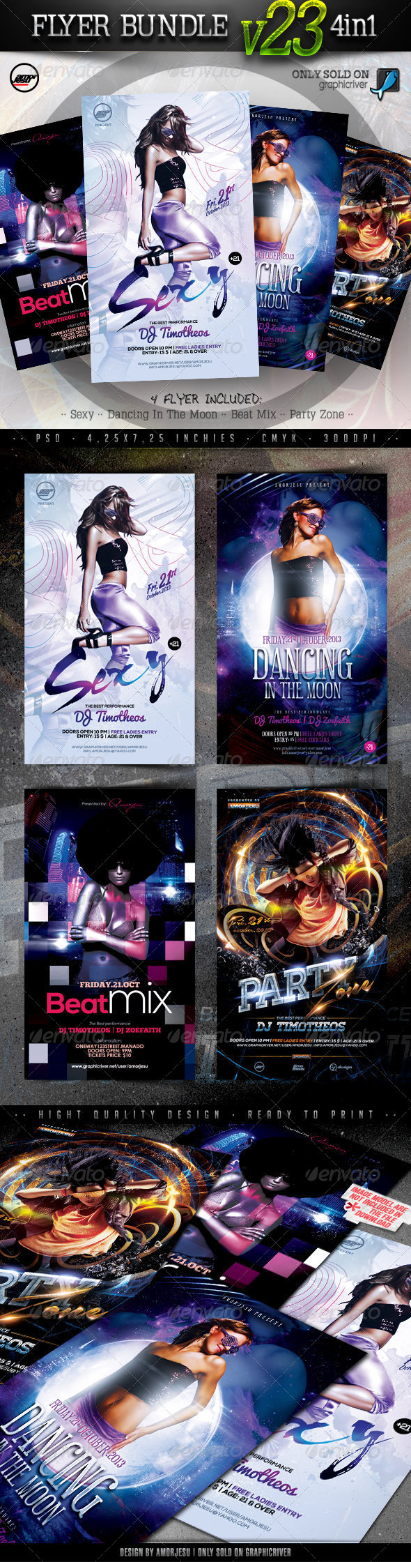 Flyer Bundle Vol23 - 4 in 1 - Clubs & Parties Events