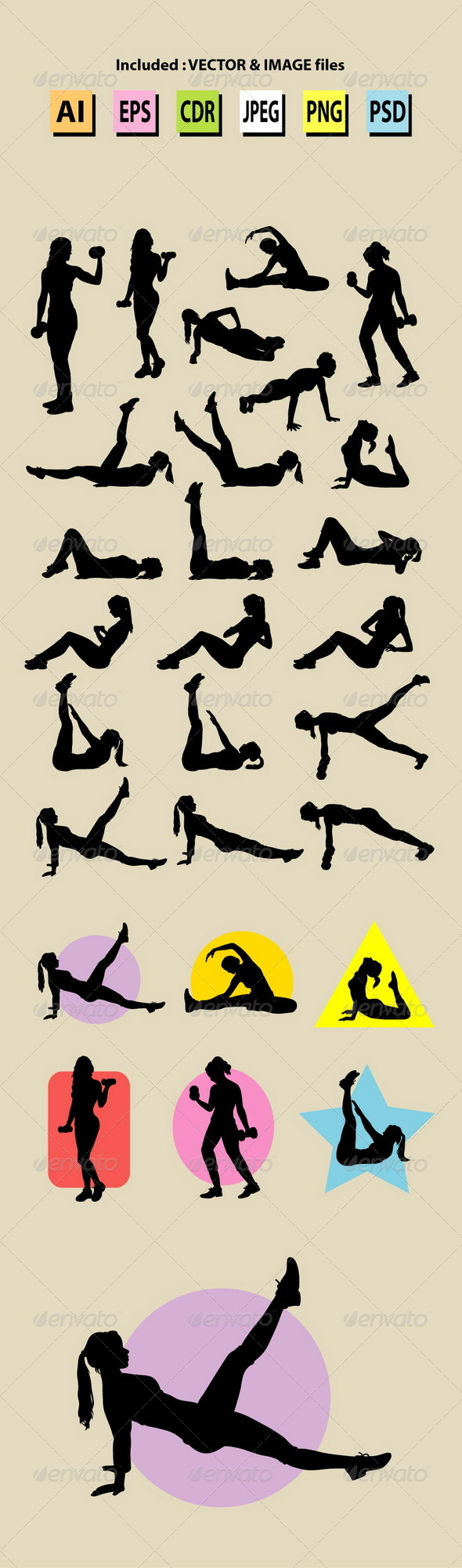Female Sport Training Silhouettes - Sports/Activity Conceptual