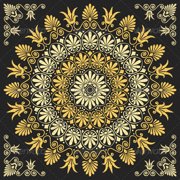 Vector Floral Gold Greek Ornament - Patterns Decorative