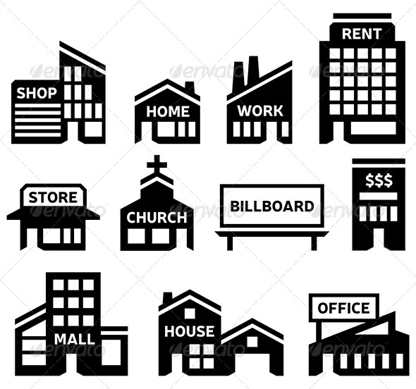 Building Symbols - Commercial / Shopping Conceptual