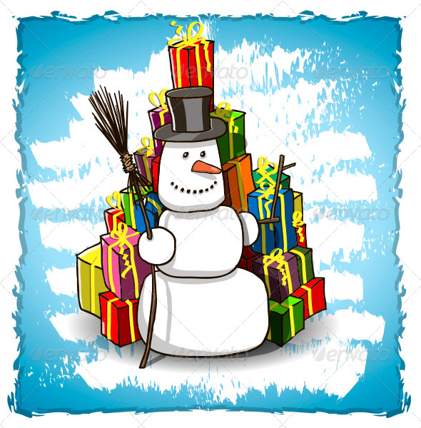 Snowman with Gifts - Christmas Seasons/Holidays