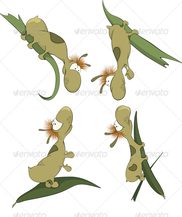 Green Worms on a Leaf Cartoon - Animals Characters