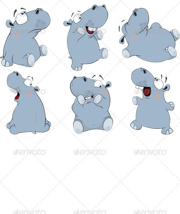 Blue Hippopotamuses Cartoon  - Animals Characters