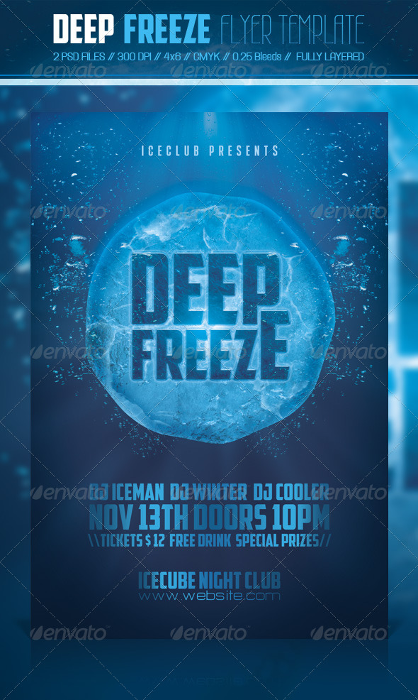 Deep Freeze Flyer Template - Clubs & Parties Events