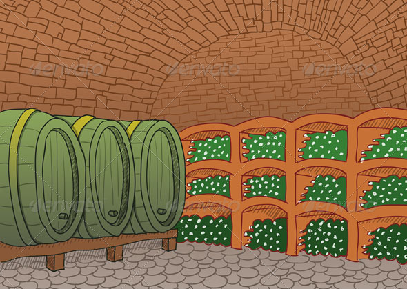 Wine Cellar Illustration - Services Commercial / Shopping