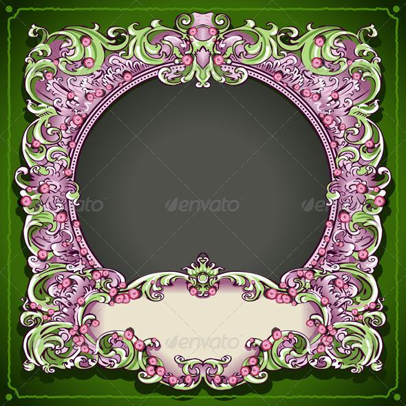 Vintage Floral Spring Frame - Decorative Vectors