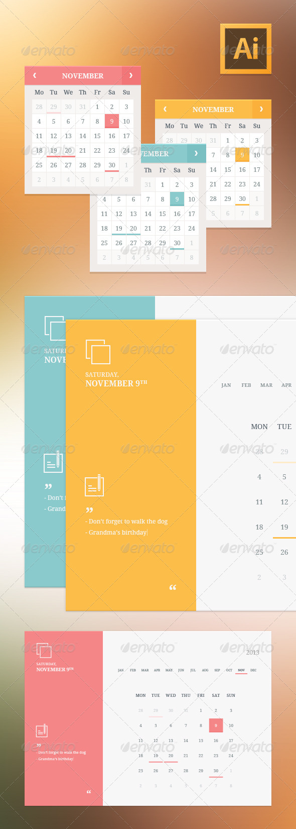 Flat Style Calendar Widgets - User Interfaces Web Elements