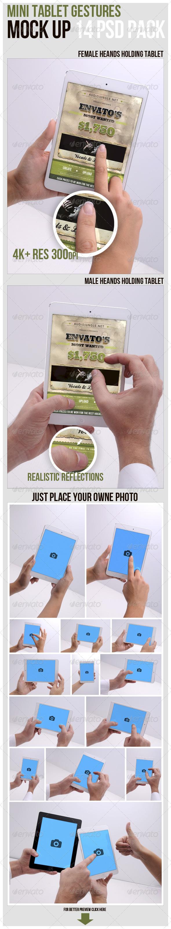 Mini Tablet Gestures Mockup - Displays Product Mock-Ups