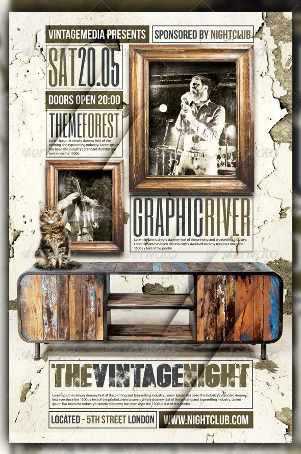 Vintage / Retro Indie Rock Concert /Flyer / Poster - Concerts Events