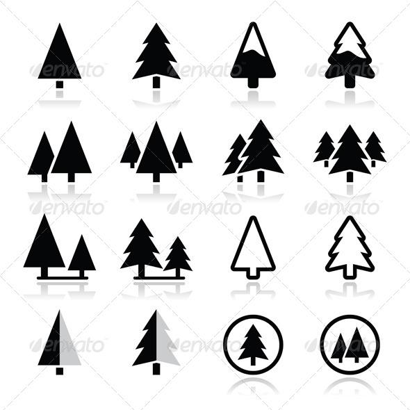 Christmas Tree Vector Icons Set  - Christmas Seasons/Holidays