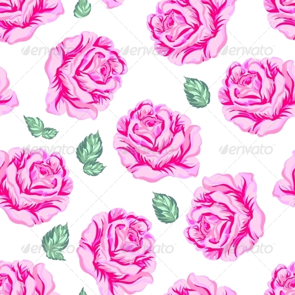 Seamless Pattern with Roses. - Backgrounds Decorative