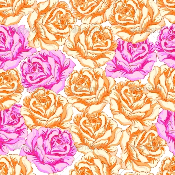 Seamless Pattern with Orange and Pink Roses. - Backgrounds Decorative