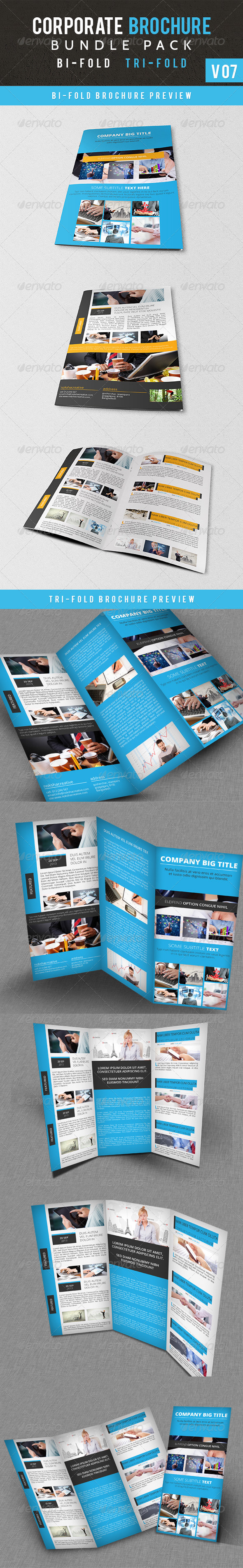 Corporate Brochure Bundle Pack V 07 - Brochures Print Templates