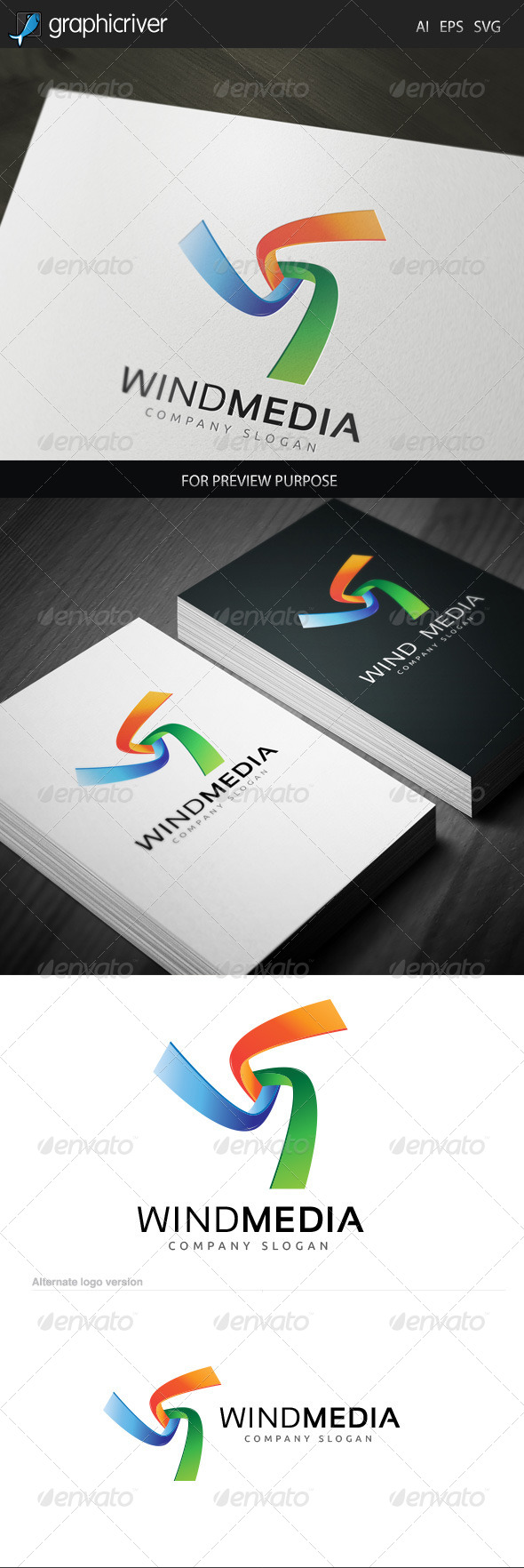 Wind Media 1 Logo - Letters Logo Templates