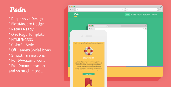 Psdn - Colorful Responsive Landing Page - Technology Landing Pages