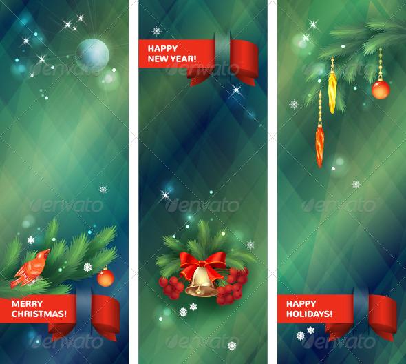Vertical Vector Holidays Christmas Banners - Christmas Seasons/Holidays