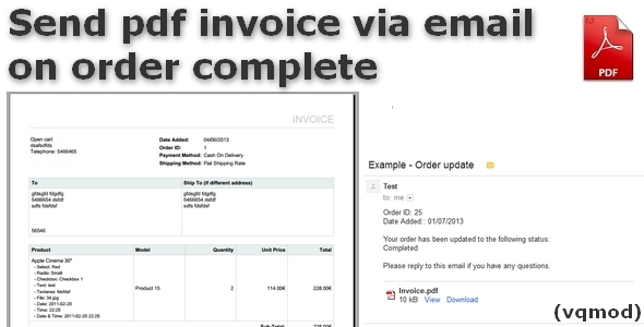 Send pdf invoice via email on order Complete - CodeCanyon Item for Sale