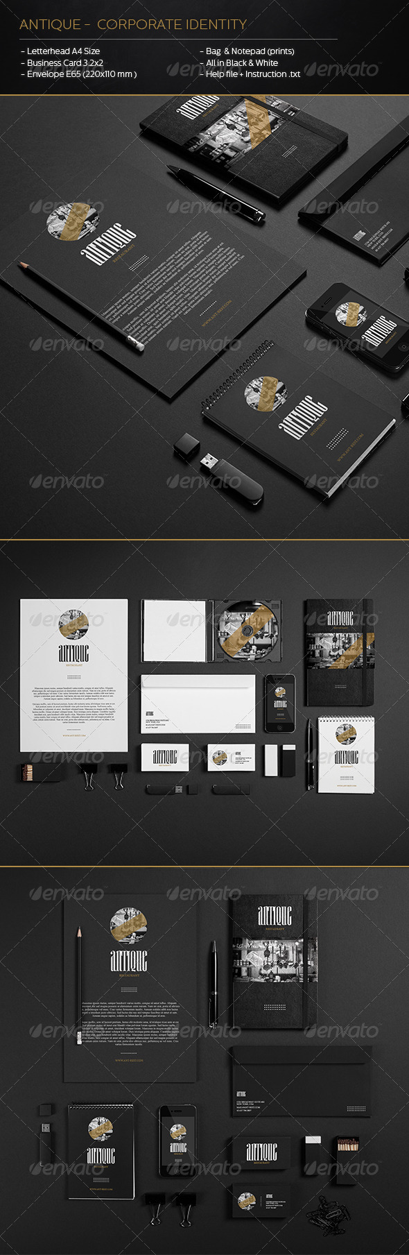 Antique - Corporate Identity - Stationery Print Templates