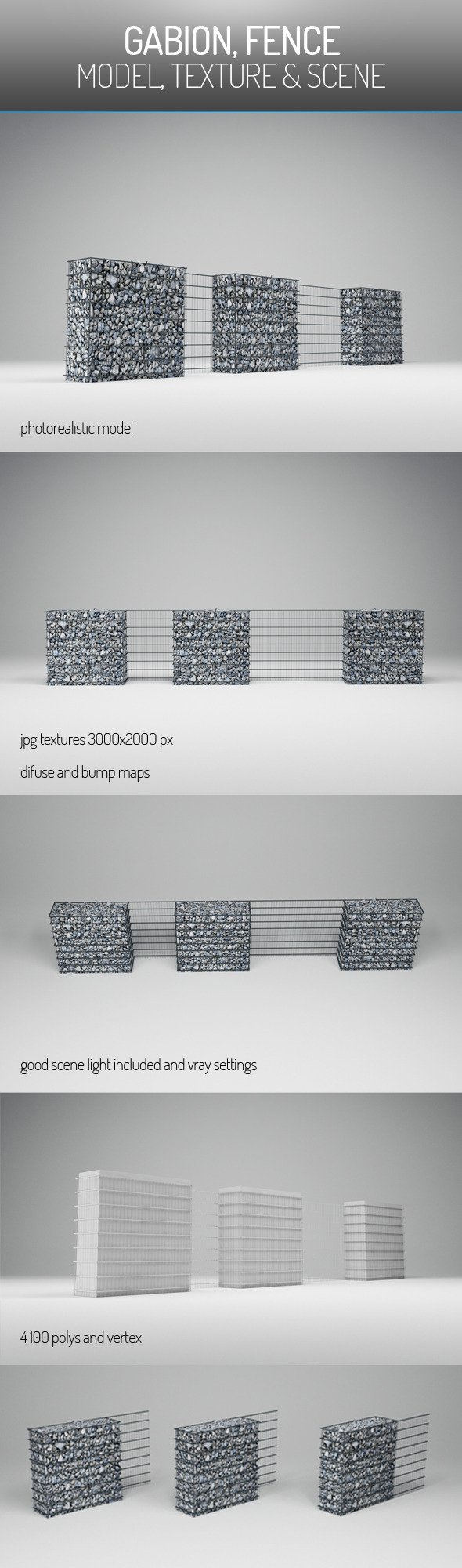Gabion Fence - 3DOcean Item for Sale