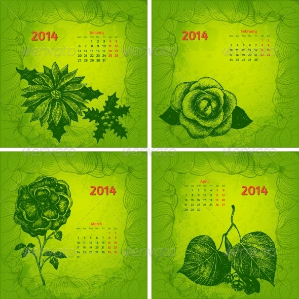 Colourful 2014 Year Vector Calendar - Backgrounds Decorative
