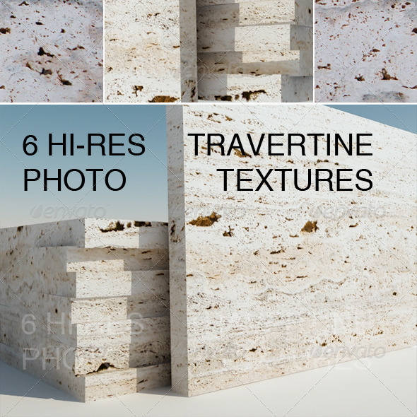 6 Travertine Textures - 3DOcean Item for Sale