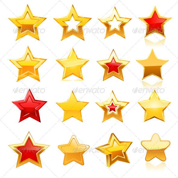 Gold Star Icon Set - Decorative Symbols Decorative