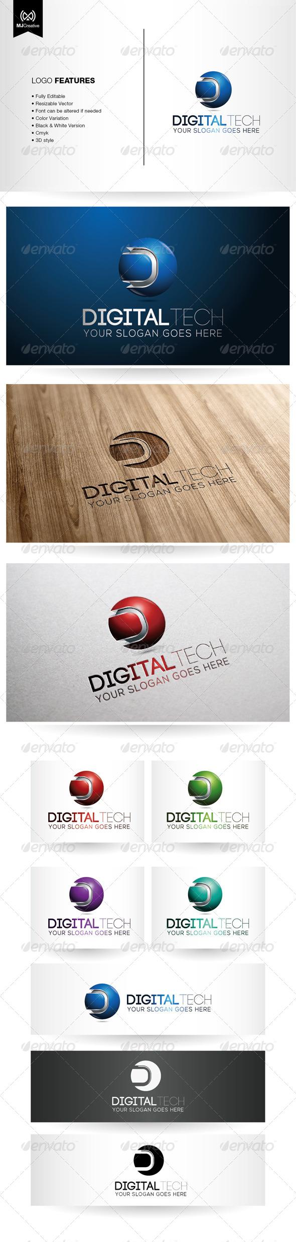 Letter D Tech Logo - 3d Abstract