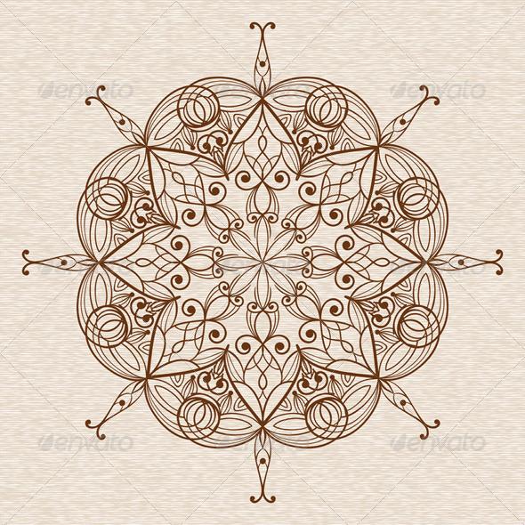 Vector Abstract Ethnic  Floral Design Element - Flourishes / Swirls Decorative