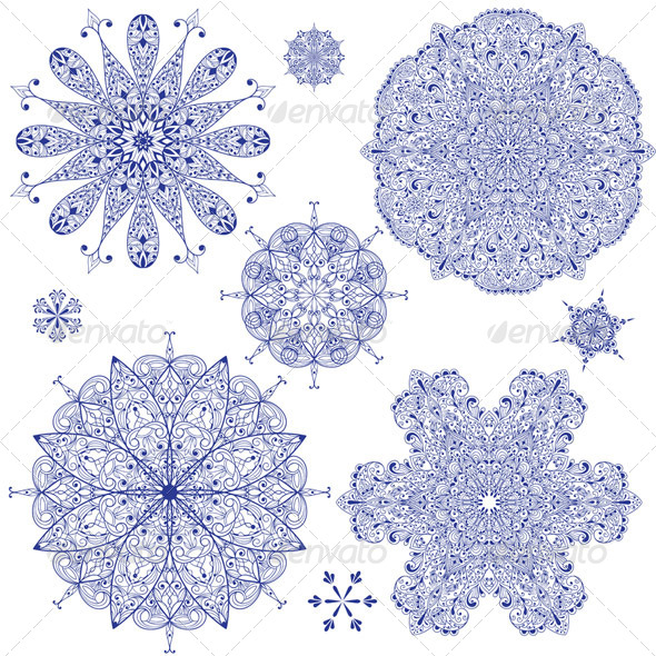 Vector Blue Highly Detailed Snowflakes - Seasons Nature