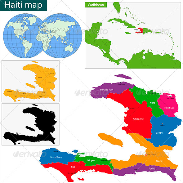 Haiti Map - Travel Conceptual