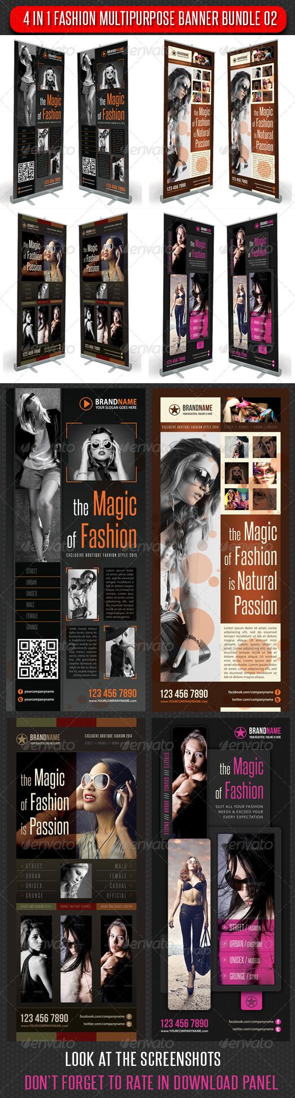 4 in 1 Fashion Multipurpose Banner Bundle 03 - Signage Print Templates