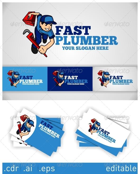 Fast Plumber Logo - Humans Logo Templates
