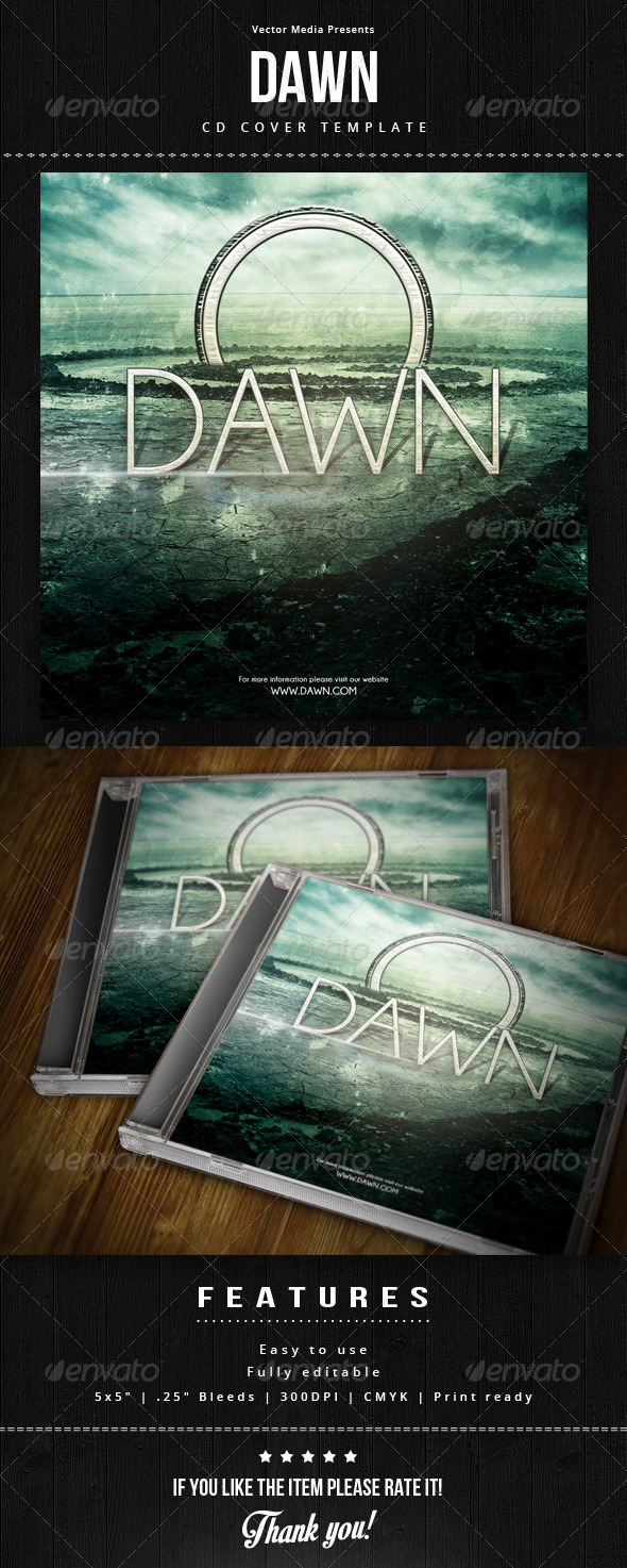Dawn - Cd Cover - CD & DVD Artwork Print Templates
