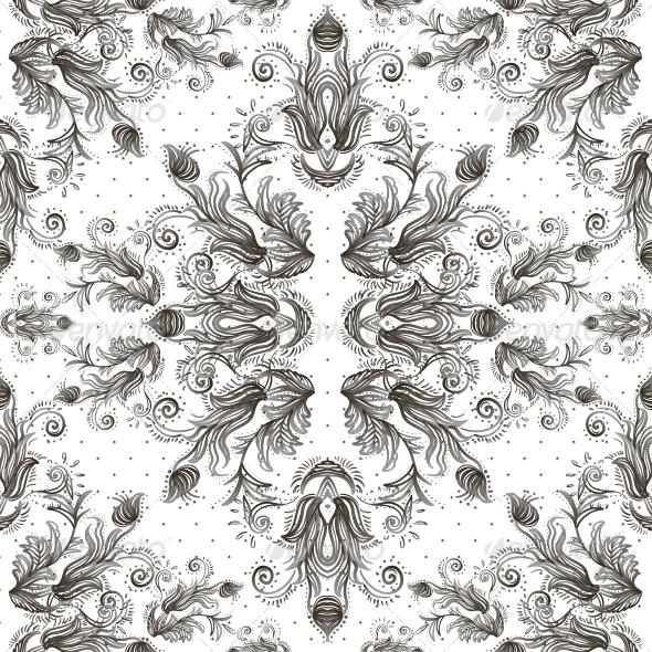 Seamless Vintage Background Baroque Pattern - Patterns Decorative