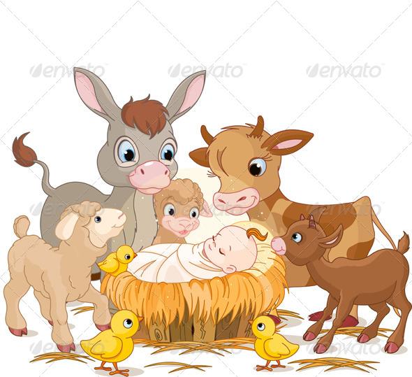 Holy Child with Animals - Christmas Seasons/Holidays