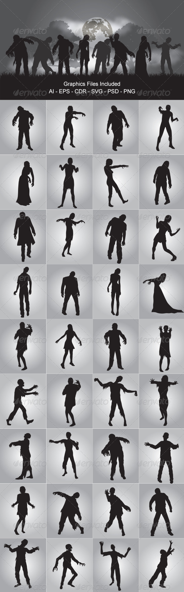 Zombie Silhouettes - Monsters Characters