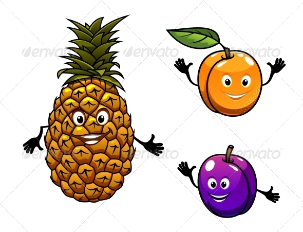 Apricot, Pineapple and Plum Fruits - Food Objects