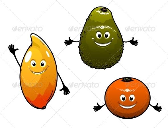 Avocado, Mango and Orange - Food Objects