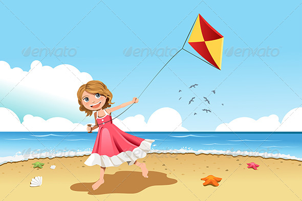 Girl Flying Kite - Sports/Activity Conceptual