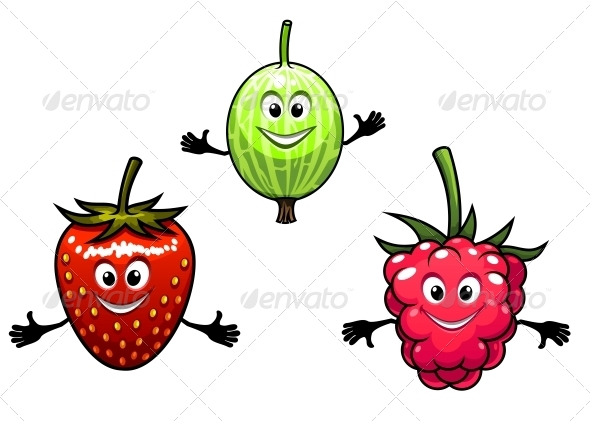 Gooseberry, Raspberry and Strawberry  - Food Objects