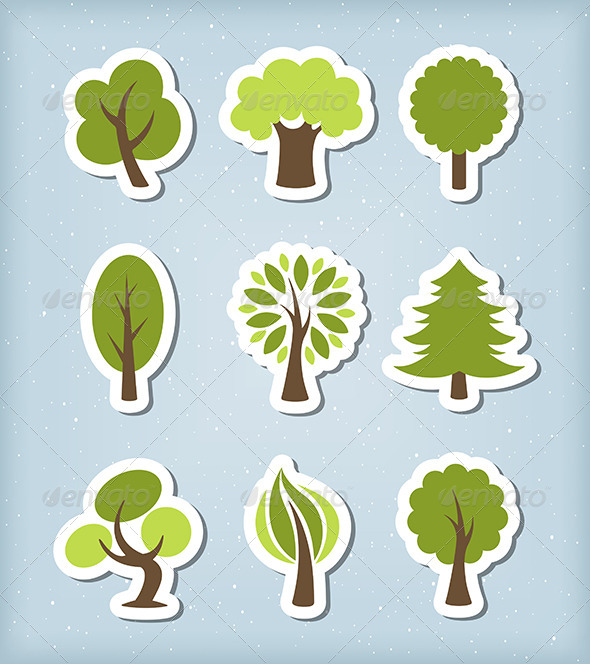 Tree Paper Cut Vector Set - Nature Conceptual