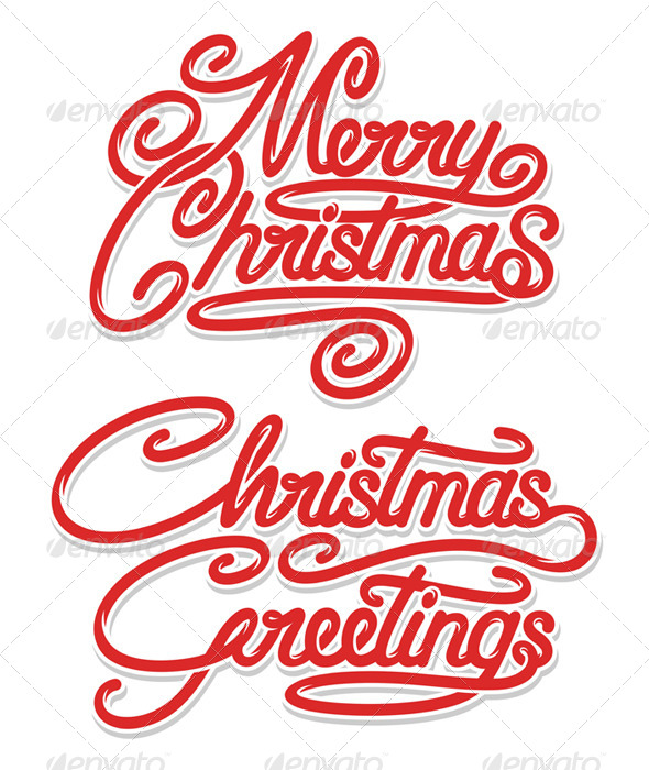 Merry Christmas Calligraphic Text - Christmas Seasons/Holidays