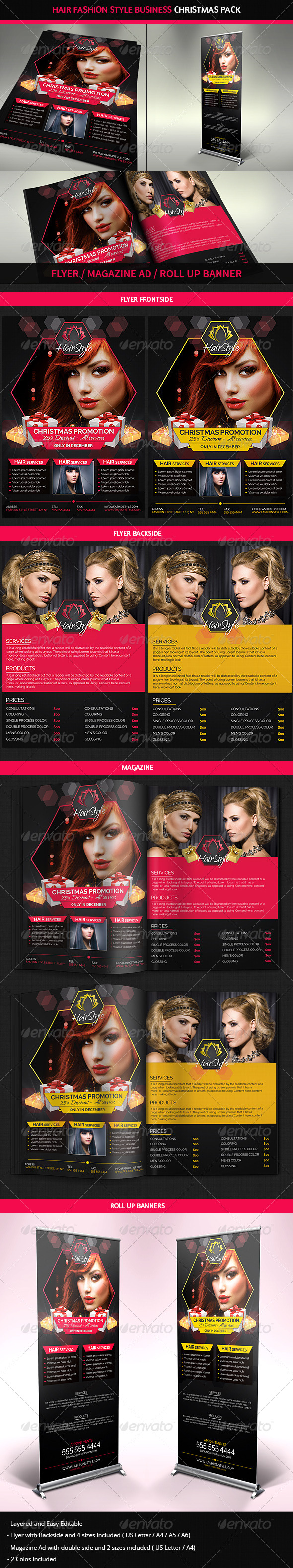 Hair Salon Fashion Christmas Advertising Pack - Commerce Flyers
