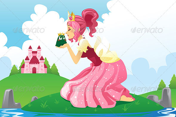 Princess Kissing a Frog - Characters Vectors
