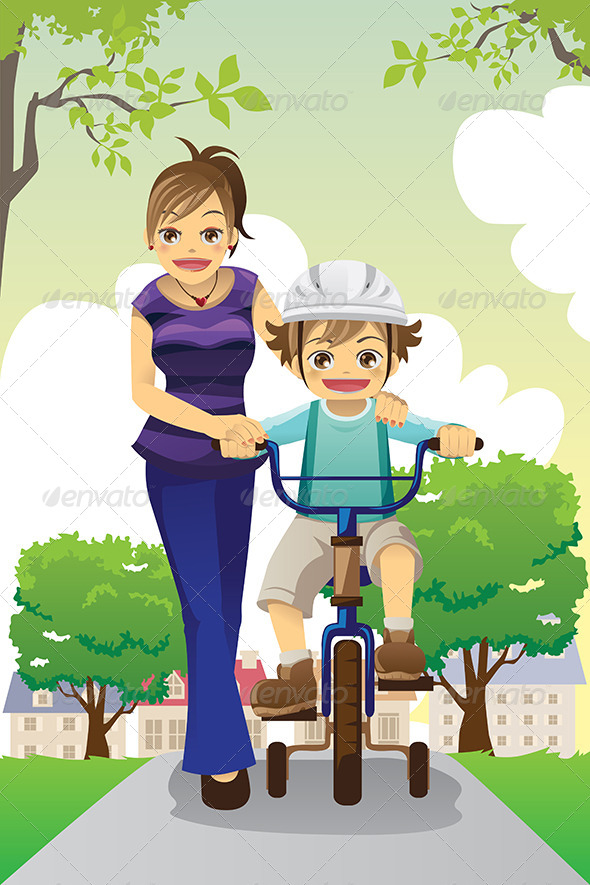 Mother Teaching Son Biking - People Characters