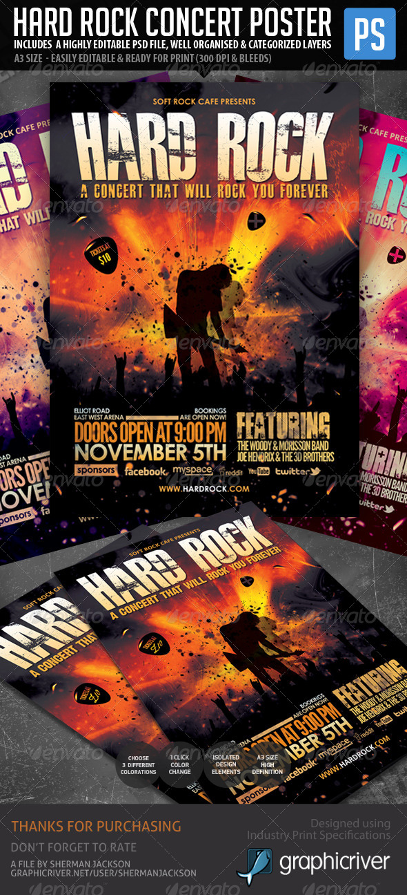 Hard Rock Poster/Flyer Template - Concerts Events