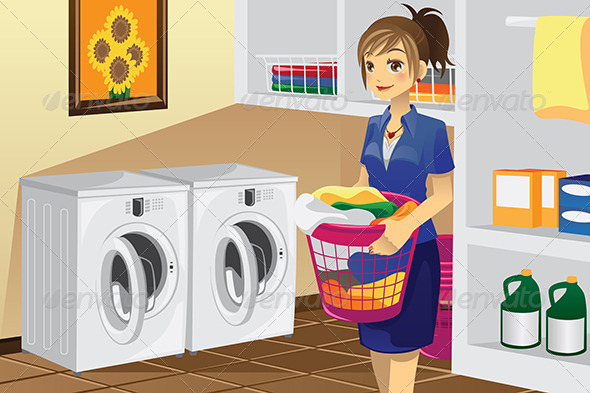 Housewife doing Laundry - Objects Vectors