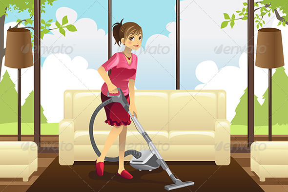 Housewife Vacuuming Carpet - People Characters