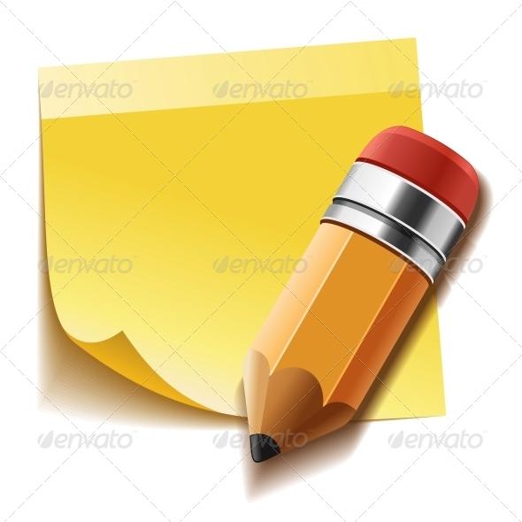 Yellow Stick Note and Pencil - Web Elements Vectors